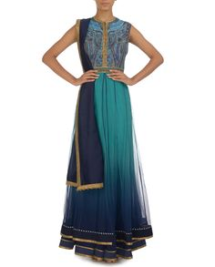 Ombre Turquoise Anarkali Set with Printed Bodicepinned via @Sahrazade