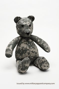 Perfect camo teddy bear for a military baby shower gift by www.militaryapparelcompany.com specializing in custom handbags, purses and accessories crafted from personal military uniforms. We also offer Military Blankets and awesome Military gifts for the entire family! www.facebook.com/militaryhandbag