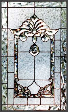 Leaded glass beveled window with clear bevel set, custom glass design Leaded Glass Windows, Stained Glass Door, Stained Glass Crafts, Stained Glass Designs, Stained Glass Panels, Stained Glass Patterns, Beveled Glass, Mosaic Glass, Etched Glass
