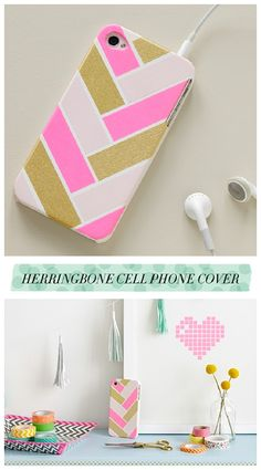 DIY Back to School Projects for Teens and Tweens - Dress up and Personalize your cell phone with a HERRINGBONE washi pattern - tutorial via Chronicle Books