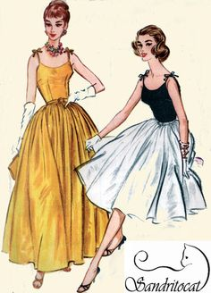 1950s Sewing Pattern McCalls 5200 Rockabilly Camisole Top Dress w/ 4-Gore Skirt and Shoulder Ties 50s Vintage Sewing Pattern Size 15 B35 on Etsy, $45.00
