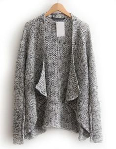 Grey Long Sleeve Loose Knit Cardigan pictures