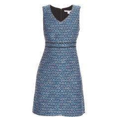Diane Von Furstenberg Leelou Long dress (10.220 RUB) ❤ liked on Polyvore featuring dresses, blue multi, v neck shift dress, blue dress, tweed dress, v-neck dresses and blue v neck dress