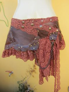 tribal+leather+mini+skirt+belt/+with+pocketlace+and+by+wildskin,+$75.00