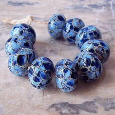 Handmade Lampwork Glass Beads  (2 pcs) - Silvered Ivory Periwinkle Dark Blue 15-16 mm x 10-11  mm