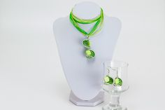 Upcycycling Kettenanhänger Set Grün Ohrringe Kette von Sylo Ketten auf DaWanda.com