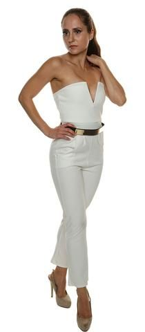 Briana Ivory Plunge 'V' Neck Pocket Belt Detail Bandeau Jumpsuit Perfect party wear Bodycon fit jumpsuit Bandeau style - added for effect Low plunge 'V' metal bone neckline - added for effect Bandeau Jumpsuit, Playsuits, Rompers, V Neck, Celebrities, Clothes, Collection, Ivory, Tops