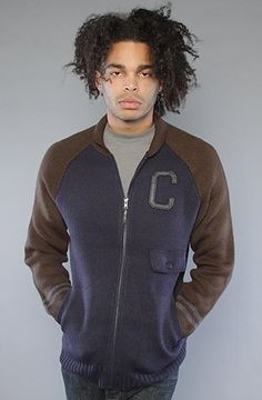 Crooks and Castles The Mens Knit Baseball Sweater - Scoundrel in Tobacco,Sweaters for Men