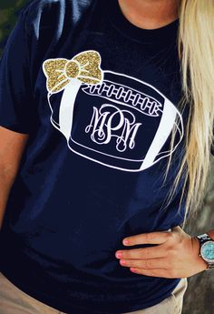 PERSONALIZED PREPPY BOW FOOTBALL SHORT SLEEVE SHIRT