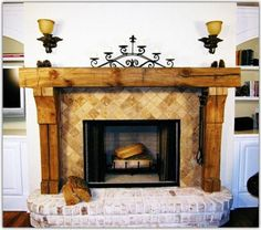 A stone fireplace evokes a rustic and natural feeling that is enhanced by rustic fireplace mantels. A hand-carved beam complements the style of a stone fireplace. Traditional woodworking tools and a reclaimed wood beam are all that is required Rustic Fireplace Decor, Wood Fireplace Surrounds, Reclaimed Wood Fireplace, Farmhouse Fireplace Mantels, Wood Mantle, Rustic Fireplaces, Home Fireplace, Fireplace Design, Fireplace Ideas
