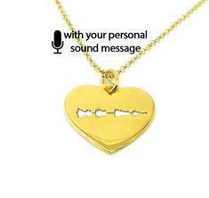 Sterling silver soundwave cut necklace gold plated,waveform necklace,custom sound wave pendant, sonogram ultrasound - Ship by DHL EXPRESS