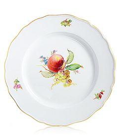 Dinner plate, 2 fruits, gold rim, ø 28 cm