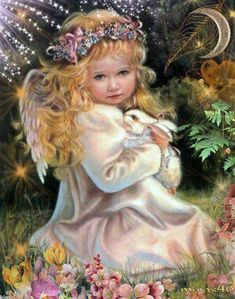 Diy crafts Diamond painting beauty Full Diamond embroidery Beautiful girl square Diamond mosaic paintings Rabbit with angel Images Victoriennes, Baby Engel, Urbane Kunst, I Believe In Angels, Angel Pictures, Angels Among Us, Angels In Heaven, 5d Diamond Painting, Guardian Angels