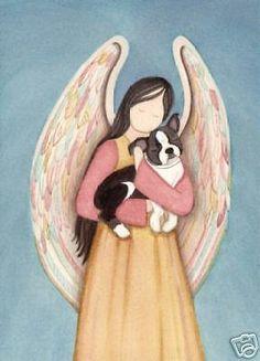 Boston Terrier cradled by angel / Lynch signed folk art print #folkart