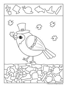 Shamrocks Hidden Picture Printable Page Critical Thinking Activities, Fun Activities For Kids, Preschool Activities, Kindergarten Worksheets, Worksheets For Kids, Hidden Pictures Printables, Emotions Preschool, Hidden Objects, Free Printable Coloring Pages