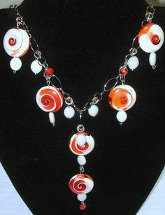 Operculum shell necklace, orange resin-filled shells, Garbo Style White Metal Chain- Amber & White Medallions-Movie Star Jewelry Design,
