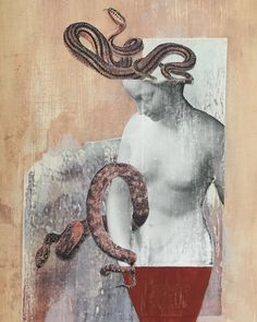 Mixed media w collage on panel.~~~Women and serpents have never had an easy go of it! 3d Collage, Medusa, Ph, Mixed Media, Mary, Wood, Creative, Inspiration, Instagram