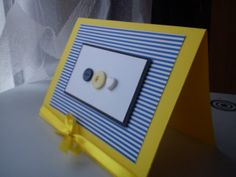 navy button card