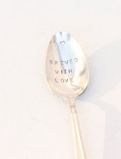 Brewed with Love Stamped Spoon For Tea or by BeachHouseLiving