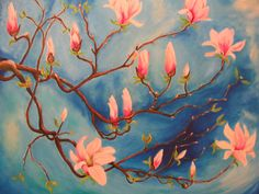 Artwork >> Mazouz Patrice >> magnolia branches on blue oil / linen #artwork, #blossom, #flowers  #oil, #painting, #masterpiece, #nature, #magnolia