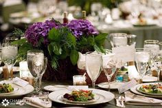 Table set with purple hyacinth centerpiece  #purplecenterpiece #hyacinths