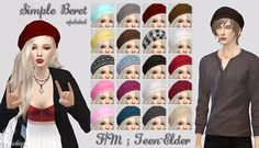 [Updated] BeretI did the same thing as the cat beanies, but this one did a weird thing on husky sims so I fixed that too. Enjoy~DOWNLOAD google drive ll adflycc creditsgirlhair by Stealthic / cardigan by inabadromance / skirt by Marigoldboyhair by Kijiko / shirt by Mochi029
