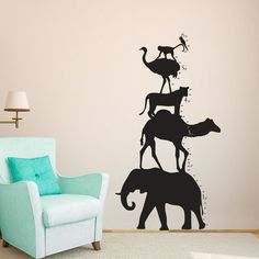 Animal Shilouette Tower Growth Chart  Wall Decal by danadecals, $40.00