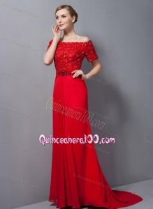 Custom Made Appliques Red Mother Of The Dress For 2014 - Quinceanera 100