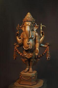 Ganesh Statue, Shri Ganesh, Ganesha Art, Lord Ganesha, Wood Sculpture, Sculptures, Indian Inspired Decor, Ganapati Decoration, Lord Murugan
