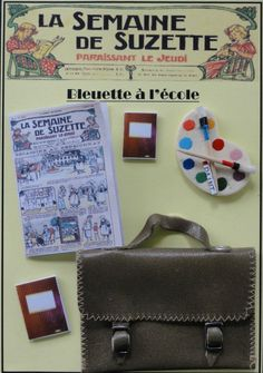 BLEUETTE Doll Accessories.Beige leather Schoolbag Satchel . Made in FRANCE ECO59