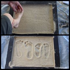 How to make a footprint in beach sand keepsake.