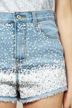 Taven Sequins Denim Hw Shorts - Blue | RUNWAY BANDITS http://www.runwaybandits.com