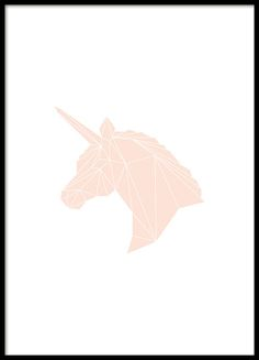 Lovely graphic style poster of a pink unicorn in geometric pattern. A nice children's poster but surely also appreciated by many adults. Whether you are going to decorate the children's room or your own bedroom, this poster will be a great feature on the wall or shelf. www.desenio.co.uk