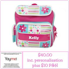 ~ SUPER SPECIAL  ~  Our delightful Gelati Allsorts Large Backpack has been reduced to clear!!  The perfect all round Backpack... perfect for School, Daycare, Playgroup, Sports, Sleepovers or just because Little Miss needs one!  Limited stock and last chance to secure this gorgeous design.  Email christinen@yayme.com.au to place your order.