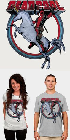 057035a9d Deadpool Riding On A Unicorn T Shirt | Majestic and lethal at the same  time! Official Marvel merchandise.