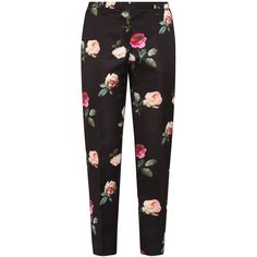 No. 21 Rose Print Trousers ($267) ❤ liked on Polyvore featuring pants, bottoms, trousers, pantalones, black, flower pants, flat-front pants, flower print pants, patterned pants and print pants