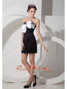 Customize Black Cocktail Dress Column Sweetheart Satin Beading Mini-length- $98.37  http://www.fashionos.com  http://www.facebook.com/quinceaneradress.fashionos.us  Here are the words coming to mind to describe the feeling of seeing this dress at the first sight: fun, flirty and fabulous. This two-toned design is full of freshness and natural beauty. It features a strapless bodice with a sweetheart neckline and glamorous beadwork.