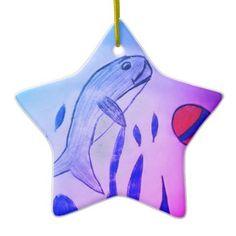 #fishing - #Dolphin Playing Ball Ceramic Ornament