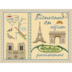 Timbre bienvenue en région parisienne kit à broder au point de croix