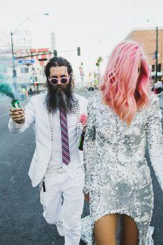 merrow Doing Vegas right. Ainsley & Sebastien of Sticks & Stones Agency elope in Las Vegas Style Blog, Sticks And Stones Agency, Glitter Beards, Las Vegas, Shotgun Wedding, Wedding Inspiration, Style Inspiration, Wedding Ideas, Steam Punk