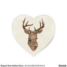 Elegant Deer Antlers Rustic Country Wedding Heart Sticker #deer #antlers #rustic #country #wedding #turquoise #woodland #woodsy #natural #nature