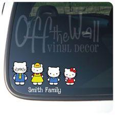 Hello Kitty Family Stick Figure Vinyl Car Decal Sticker
