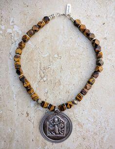 Rajasthan Hindu Goddess Durga Shakti Silver Tiger Eye Gemstone Necklace Earrings Set, Powerful Amulet Necklace, Diwali Navratri Necklace