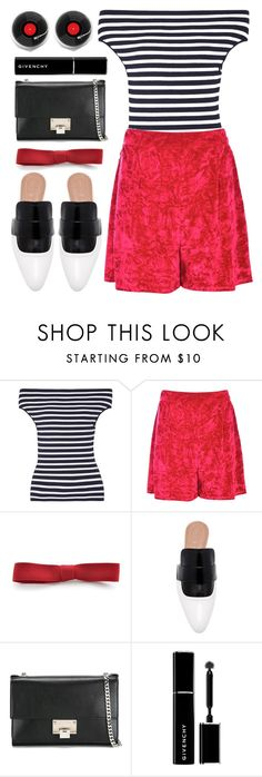 """""""stripes & red"""" by foundlostme ❤ liked on Polyvore featuring Michael Kors, Boohoo, Marni, Jimmy Choo, Givenchy, stripes, mules and velvetshorts"""