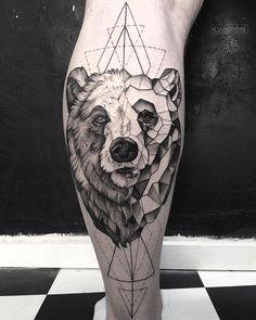 bw geometrical bear tattoo idea on leg by @she_is