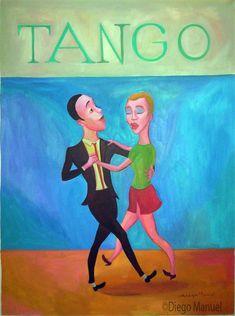 tango milonguero c, pinturas de Diego Manuel. Sale of a painting of the Argentine Tango. Venta de una pintura sobre el tango Argentino