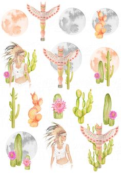 Native clipart Boho and cactus hand made clipart, watercolor hand-painted native, moon, totem and cactus... Perfect clipart for stationery, DIY, scrapbooking, bullet journal,art journal, personalized invitation, poster, goodies planner, website or blog, cutting and collage, digital printing, creative leisure, stickers, thing or fabric printing.