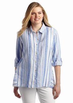Jones New York Sport  Plus Size Striped Button Up Shirt