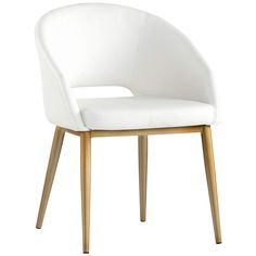 In a simple and elegant design, this white faux leather dining chair is perfect for modern living. 30 high x wide x deep. Seating area is high from the floor x wide x deep. Arms are high from the floor. Style # at Lamps Plus. Faux Leather Dining Chairs, White Dining Chairs, Small Accent Chairs, Contemporary Dining Chairs, Accent Chairs For Living Room, Metal Chairs, Round Dining Table, Black Chairs, High Chairs