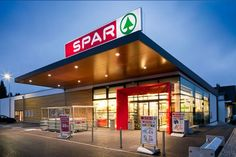 Related image Retail Architecture, Modern Architecture, Gym Design, Retail Design, Supermarket Design, Facade Lighting, Store Layout, Canopy Lights, Building Design